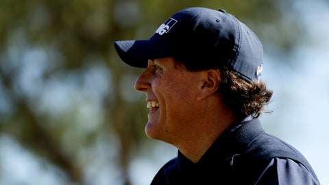 <p>               Phil Mickelson smiles after his tee shot on the fourth hole during the third round of the Desert Classic golf tournament on the Stadium Course at PGA West on Saturday, Jan. 19, 2019, in La Quinta, Calif. (AP Photo/Chris Carlson)             </p>