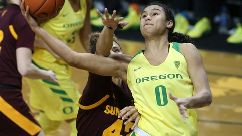 <p>               Oregon's Satou Sabally, right, goes up for a shot ahead of Arizona State's Courtney Ekmark, left, Oregon's Oti Gildon and Arizona State's Kianna Ibis during the fourth quarter of an NCAA college basketball game Friday, Jan. 18, 2019, in Eugene, Ore. (AP Photo/Chris Pietsch)             </p>