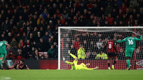 <p>               Watford's Troy Deeney, left, scores his side's second goal of the game, during the English Premier League soccer match between Bournemouth and Watford at the Vitality Stadium, in Bournemouth, England, Wednesday, Jan. 2, 2019. (Andrew Matthews/PA via AP)             </p>