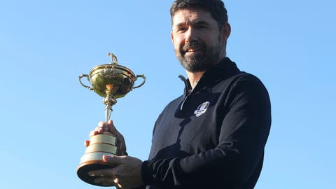 <p>               Padraig Harrington holds the Ryder Cup for the media at the Wentworth Golf Club, south England, Tuesday Jan. 8, 2019. Padraig Harrington has been chosen as captain of the Europe team for the 2020 Ryder Cup at Whistling Straits, it was announced by the European Tour at its headquarters at Wentworth. (Adam Davy/PA via AP)             </p>