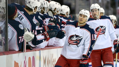 <p>               Columbus Blue Jackets right wing Cam Atkinson (13) celebrates his goal during the first period of an NHL hockey game against the Washington Capitals, Saturday, Jan. 12, 2019, in Washington. (AP Photo/Nick Wass)             </p>