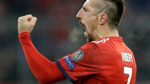 <p>               FILE--- In this picture taken Nov.27, 2018 Bayern midfielder Franck Ribery celebrates after scoring his side's fifth goal during the Champions League group E soccer match between FC Bayern Munich and Benfica Lisbon in Munich, Germany. (AP Photo/Matthias Schrader)             </p>