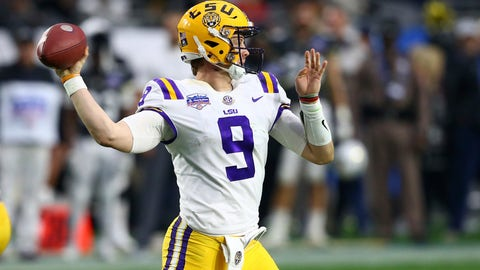 <p>               LSU quarterback Joe Burrow (9) throws a pass against UCF during the first half of a Fiesta Bowl NCAA college football game Tuesday, Jan. 1, 2019, in Glendale, Ariz. (AP Photo/Ross D. Franklin)             </p>