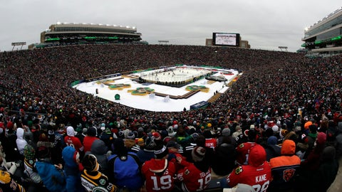<p>               A general view of Notre Dame Stadium is seen in the second period of the NHL Winter Classic hockey game between the Boston Bruins and the Chicago Blackhawks, Tuesday, Jan. 1, 2019, in South Bend, Ind. (AP Photo/Nam Y. Huh)             </p>
