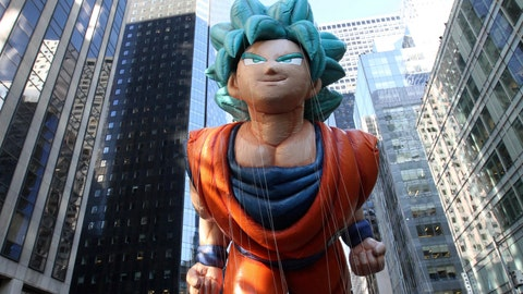 """<p>               FILE - In this Nov. 22, 2018 file photo, a balloon depicting Goku, from the """"Dragon Ball"""" manga series, makes its way down Sixth Avenue during the 92nd annual Macy's Thanksgiving Day Parade in New York. """"Dragon Ball"""" is a revered anime that has influenced pop culture for years, earning praise from the likes of Michael B. Jordan, Ronda Rousey and Chris Brown, showing up in end zone celebrations. With the new film """"Dragon Ball Super: Broly"""" releasing this week in the U.S., the franchise's popularity with its famous and non-famous fans is likely to grow. (AP Photo/Tina Fineberg, File)             </p>"""