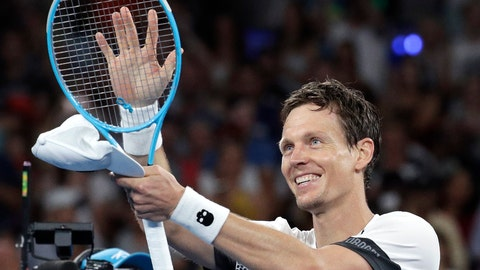 <p>               Tomas Berdych of the Czech Republic celebrates after defeating Argentina's Diego Schwartzman during their third round match at the Australian Open tennis championships in Melbourne, Australia, Friday, Jan. 18, 2019. (AP Photo/Aaron Favila)             </p>