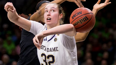<p>               Notre Dame's Jessica Shepard (32) has the ball knocked away from behind by Louisville's Bionca Dunham during the first half of an NCAA college basketball game Thursday, Jan. 10, 2019, in South Bend, Ind. (AP Photo/Robert Franklin)             </p>