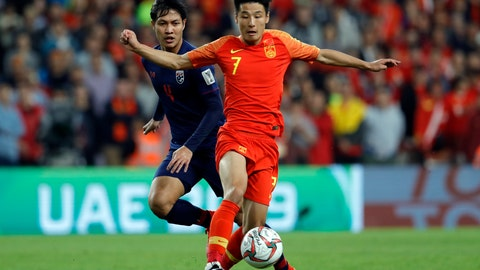 <p>               China's defender Wu Lei, right, duels for the ball with Thailand's defender Chalermpong Kerdka during the AFC Asian Cup round of 16 soccer match between Thailand and China at the Hazza Bin Zayed stadium in Al Ain, United Arab Emirates, Sunday, Jan. 20, 2019. (AP Photo/Hassan Ammar)             </p>