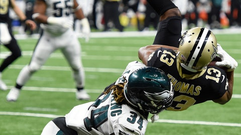 <p>               New Orleans Saints wide receiver Michael Thomas (13) pulls in a touchdown reception against Philadelphia Eagles cornerback Cre'von LeBlanc (34) in the second half of an NFL divisional playoff football game in New Orleans, Sunday, Jan. 13, 2019. (AP Photo/Bill Feig)             </p>