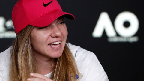 <p>               Romania's Simona Halep answers a question during a press at the Australian Open tennis championships in Melbourne, Australia, Saturday, Jan. 12, 2019. (AP Photo/Kin Cheung)             </p>