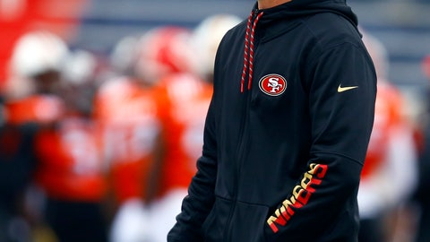 <p>               South head coach Kyle Shanahan of the San Francisco 49ers walks the field during practice for Saturday's Senior Bowl college football game, Tuesday, Jan. 22, 2019, in Mobile, Ala. (AP Photo/Butch Dill)             </p>