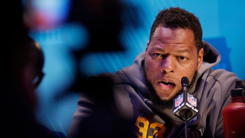 <p>               Los Angeles Rams' Ndamukong Suh answers a question during Opening Night for the NFL Super Bowl 53 football game Monday, Jan. 28, 2019, in Atlanta. (AP Photo/David J. Phillip)             </p>