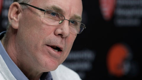 <p>               Cleveland Browns general manager John Dorsey answers question at a news conference at the NFL football team's training camp facility, Monday, Dec. 31, 2018, in Berea, Ohio. Browns interim coach Gregg Williams will be the first candidate interviewed for Cleveland's permanent position. Williams led Cleveland to a 5-3 record after Hue Jackson was fired on Oct. 29. Dorsey said Williams, the team's defensive coordinator for the past two seasons, will have his interview Tuesday. (AP Photo/Tony Dejak)             </p>