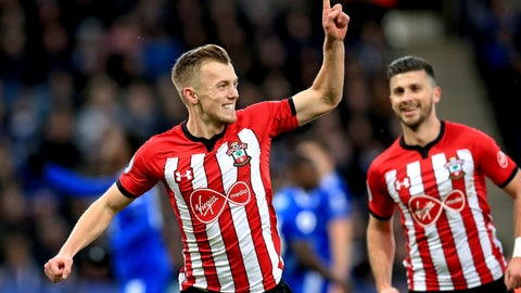 <p>               Southampton's James Ward-Prowse, left, celebrates scoring his side's first goal of the game during the English Premier League soccer match between Leicester City and Southampton at the King Power stadium, Leicester, England. Saturday, Jan. 12, 2019 (Mike Egerton/PA via AP)             </p>