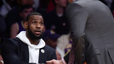 <p>               Los Angeles Lakers forward LeBron James, left, shakes hands with coach Luke Walton as they have a chat during the first half of an NBA basketball game against the Los Angeles Clippers on Friday, Dec. 28, 2018, in Los Angeles. (AP Photo/Mark J. Terrill)             </p>