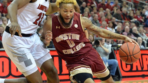 <p>               Boston College guard Ky Bowman (0) attempts to drive past Louisville center Steven Enoch (23) during the first half of an NCAA college basketball game in Louisville, Ky., Wednesday, Jan. 16, 2019. (AP Photo/Timothy D. Easley)             </p>
