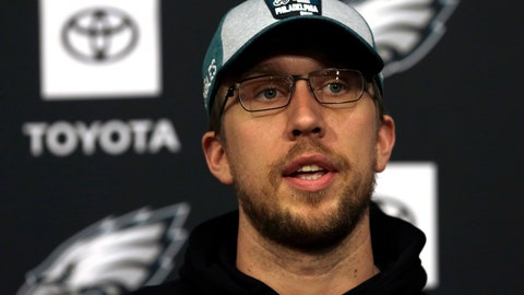 <p>               Philadelphia Eagles NFL football quarterback Nick Foles responds to a reporter's question during an availability Wednesday Jan. 9, 2019, in Philadelphia. The Eagles face the New Orleans Saints on Sunday in a divisional playoff game. (AP Photo/Jacqueline Larma)             </p>