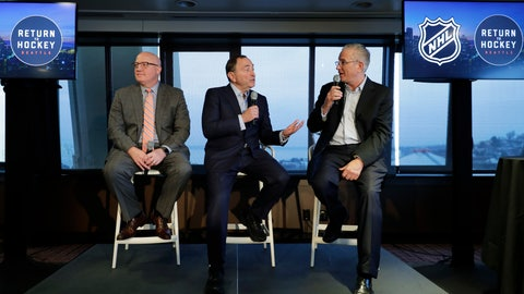 <p>               NHL Commissioner Gary Bettman, center, joins Deputy Commissioner Bill Daly, left, and Tod Leiweke, right, president and CEO of the Seattle Hockey Partners group, Wednesday, Jan. 9, 2019, during a news conference in Seattle. Bettman said the NHL has promised Seattle it will host the hockey All-Star Game within its first seven seasons. (AP Photo/Ted S. Warren)             </p>