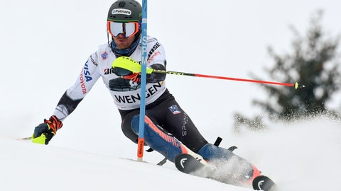 <p>               United States' Ted Ligety competes during an alpine ski, men's World Cup combined in Wengen, Switzerland, Friday, Jan. 18, 2019. (AP Photo/Marco Tacca)             </p>