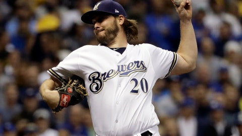 <p>               FILE - In this Oct. 19, 2018, file photo, Milwaukee Brewers starting pitcher Wade Miley throws during the first inning of Game 6 of the National League Championship Series baseball game against the Los Angeles Dodgers in Milwaukee. The Houston Astros filled an opening in their rotation, agreeing to a $4.5 million, one-year contract with 32-year-old left-hander Miley. (AP Photo/Matt Slocum, File)             </p>