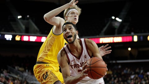 <p>               Southern California's J'Raan Brooks, right, looks to shoot as California's Connor Vanover defends during the first half of an NCAA college basketball game Thursday, Jan. 3, 2019, in Los Angeles. (AP Photo/Jae C. Hong)             </p>