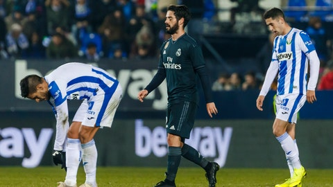 <p>               Real Madrid's Isco Alarcon, center, reacts during a Spanish Copa del Rey soccer match between Leganes and Real Madrid at the Butarque stadium in Leganes, Spain, Wednesday, Jan. 16, 2019. (AP Photo/Valentina Angela)             </p>