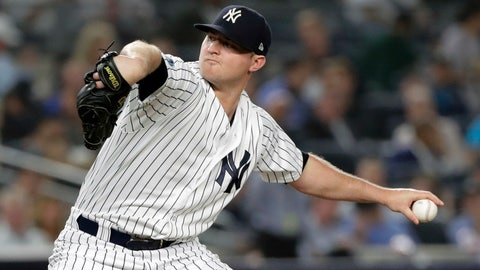 <p>               FILE - In this Tuesday, Oct. 9, 2018 file photo, New York Yankees relief pitcher Zach Britton delivers against the Boston Red Sox during the fourth inning of Game 4 of baseball's American League Division Series in New York. A person familiar with the negotiations tells The Associated Press that reliever Zach Britton and the New York Yankees have agreed to a $39 million, three-year contract. The person spoke on condition of anonymity Saturday, Jan. 5, 2019 because the agreement was subject to a successful physical. (AP Photo/Frank Franklin II, File)             </p>