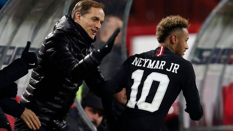 <p>               FILE - In this Tuesday, Dec. 11, 2018 file photo, PSG coach Thomas Tuchel, left, congratulates PSG forward Neymar after he scored his side' second goal during the Champions League group C soccer match between Red Star and Paris Saint Germain, in Belgrade, Serbia. PSG travels to face Manchester United on Feb. 12, 2019 without the Brazil forward, who faces around 10 weeks out. With Neymar so influential to the way PSG plays, it means coach Thomas Tuchel must have a tactical re-think.  (AP Photo/Darko Vojinovic, File)             </p>