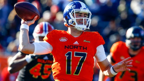 <p>               North quarterback Daniel Jones, of Duke, throws a pass during the first half of the Senior Bowl college football game, Saturday, Jan. 26, 2019, in Mobile, Ala. (AP Photo/Butch Dill)             </p>