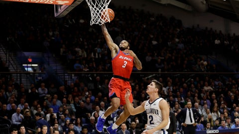 <p>               DePaul's Devin Gage (3) goes up for a shot against Villanova's Collin Gillespie (2) during the first half of an NCAA college basketball game, Wednesday, Jan. 2, 2019, in Villanova, Pa. (AP Photo/Matt Slocum)             </p>