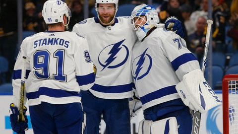 <p>               Tampa Bay Lightning's Steven Stamkos (91), Victor Hedman (77) and Louis Domingue (70) celebrate a victory over the Buffalo Sabres following the third period of an NHL hockey game, Saturday, Jan. 12, 2019, in Buffalo N.Y. (AP Photo/Jeffrey T. Barnes)             </p>