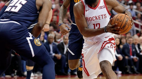<p>               Houston Rockets guard James Harden (13) drives to the basket between Denver Nuggets guard Malik Beasley (25) and forward Torrey Craig, back, during the second half of an NBA basketball game Monday, Jan. 7, 2019, in Houston. (AP Photo/Michael Wyke)             </p>