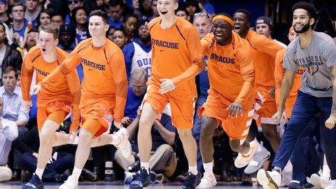 <p>               Syracuse players celebrate as time expires during overtime in an NCAA college basketball game against Duke in Durham, N.C., Monday, Jan. 14, 2019. Syracuse won 95-91. (AP Photo/Gerry Broome)             </p>