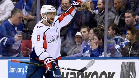 <p>               Washington Capitals left wing Alex Ovechkin (8) celebrates a goal, tying him with fellow Russian Sergei Fedorov for a career high of 50 points, during the second period of an NHL hockey game against the Toronto Maple Leafs, Wednesday, Jan. 23, 2019, in Toronto. (Nathan Denette/The Canadian Press via AP)             </p>