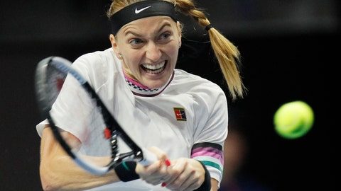 <p>               Petra Kvitova of Czech Republic returns the ball to Victoria Azarenka of Belarus during the St. Petersburg Ladies Trophy-2019 tennis tournament match in St.Petersburg, Russia, Wednesday, Jan. 30, 2019. (AP Photo/Dmitri Lovetsky)             </p>