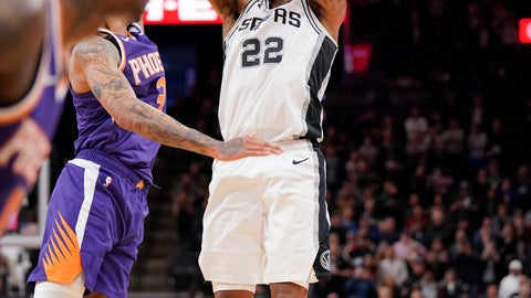<p>               San Antonio Spurs' Rudy Gay (22) shoots the game-winning basket at the end of the team's NBA basketball game against the Phoenix Suns, Tuesday, Jan. 29, 2019, in San Antonio. San Antonio won 126-124. (AP Photo/Darren Abate)             </p>