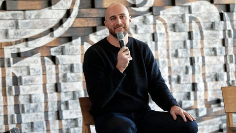<p>               New Minnesota Twins manager Rocco Baldelli addresses the media with the team's annual fan fest underway at Target Field, Friday, Jan. 25, 2019, in Minneapolis. (AP Photo/Jim Mone)             </p>