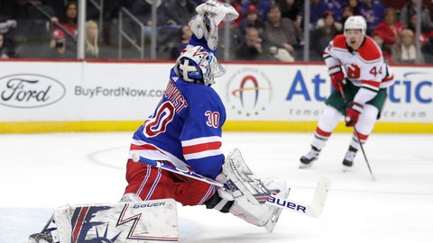 <p>               New York Rangers goaltender Henrik Lundqvist (30), of Sweden, makes a save against the New Jersey Devils during the second period of an NHL hockey game, Thursday, Jan. 31, 2019, in Newark, N.J. (AP Photo/Julio Cortez)             </p>