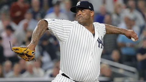 <p>               FILE - In this Tuesday, Oct. 9, 2018 file photo, New York Yankees starting pitcher CC Sabathia delivers against the Boston Red Sox during the first inning of Game 4 of baseball's American League Division Series in New York. Yankees pitcher CC Sabathia has been cleared to resume working out, including baseball activities. The 38-year-old left-hander had a blockage in one artery to his heart and underwent a procedure Dec. 11 to insert a stent to clear the blockage. Sabathia had a scheduled follow-up stress test Tuesday, Jan. 8, 2019 according to New York, and was cleared to work out.(AP Photo/Frank Franklin II, File)             </p>
