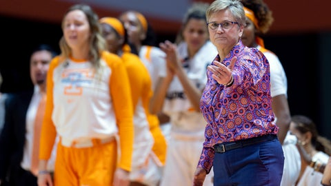<p>               FILE - In the Jan. 19, 2019, file photo, Tennessee head coach Holly Warlick directs players during an NCAA basketball game against Kentucky in Knoxville. The Lady Volunteers (12-6) have dropped five straight games and have fallen out of the Top 25 as they prepare to host No. 1 Notre Dame (18-1) on Thursday. If the Lady Vols don't turn things around soon, they'll be at risk of missing the NCAA Tournament for the first time in that event's 38-year history. (AP Photo/Bryan Woolston, File)             </p>