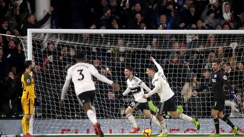 <p>               Fulham's Luciano Vietto, 3rd right, celebrates scoring his side's fourth goal of the game against Brighton & Hove Albion, during their English Premier League soccer match at Craven Cottage in London, Tuesday Jan. 29, 2019. (John Walton/PA via AP)             </p>