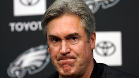 <p>               Philadelphia Eagles NFL football coach Doug Pederson listens to a reporter's question during a news conference Tuesday Jan. 15, 2019, in Philadelphia. The Eagles lost to the New Orleans Saints on Sunday, ending their season. (AP Photo/Jacqueline Larma)             </p>
