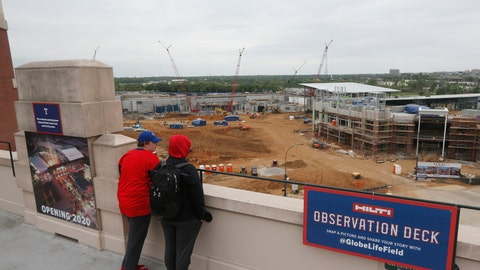 <p>               FILe - In this April 7, 2018, file photo, fans look over the construction site of the new Texas Rangers ballpark from Globe Life Field prior to a baseball game against the Toronto Blue Jays in Arlington, Texas. The new ballpark. which is expected to open in 2020, will use specially designed synthetic playing surface rather than grass in their new retractable-roof stadium. (AP Photo/Michael Ainsworth, File)             </p>
