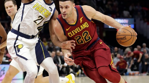 <p>               Cleveland Cavaliers' Larry Nance Jr. (22) drives to the basket against Indiana Pacers' Thaddeus Young (21) during the first half of an NBA basketball game Tuesday, Jan. 8, 2019, in Cleveland. (AP Photo/Tony Dejak)             </p>