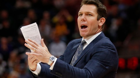 <p>               FILE - In this April 3, 2018 file photo, Los Angeles Lakers head coach Luke Walton shouts to his team in the second half during an NBA basketball game against the Utah Jazz in Salt Lake City. Luke Walton began a wellness program for his Lakers coaching staff. Steve Kerr called Steve Clifford in support after each spent significant time away from the sideline because of debilitating headaches among other symptoms. The NBA Coaches Association now provides guidance to its members on everything from diet and exercise to sleep and mental health. (AP Photo/Rick Bowmer, File)             </p>