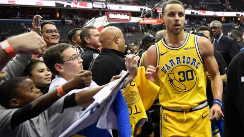 <p>               Golden State Warriors guard Stephen Curry (30) leaves the court after the team's NBA basketball game against the Washington Wizards, Thursday, Jan. 24, 2019, in Washington. The Warriors won 126-118. (AP Photo/Nick Wass)             </p>