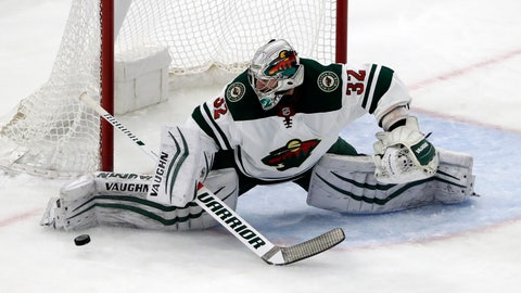 <p>               FILE - In this Dec. 17, 2017, file photo, Minnesota Wild goalie Alex Stalock blocks a shot during the first period of an NHL hockey game against the Chicago Blackhawks in Chicago. The Wild and backup goalie Alex Stalock have agreed to terms on a three-year, $2.355 million contract extension, the team announced Tuesday, Jan. 29, 2019. (AP Photo/Nam Y. Huh, File)             </p>