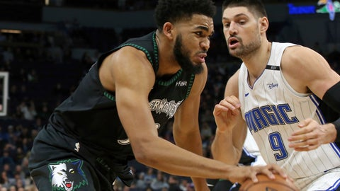 <p>               Minnesota Timberwolves' Karl-Anthony Towns, left, drives against Orlando Magic's Nikola Vucevic, of Montenegro, in the first half of an NBA basketball game Friday, Jan. 4, 2019, in Minneapolis. (AP Photo/Jim Mone)             </p>