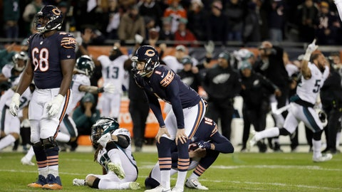 """<p>               FILE - In this Jan. 6, 2019, file photo, Chicago Bears kicker Cody Parkey (1) reacts after missing a field goal in the closing minute during the second half of an NFL wild-card playoff football game against the Philadelphia Eagles, in Chicago. Bears general manager Ryan Pace wouldn't say if Parkey will return for another season, and coach Matt Nagy called out the struggling kicker for appearing on the """"Today"""" show last week. Pace was adamant Monday, Jan. 14, 2019, that the Bears need improvement in the kicking game. He also said """"those are things that need to play out"""" when asked if Parkey will return for a second season. (AP Photo/Nam Y. Huh, File)             </p>"""