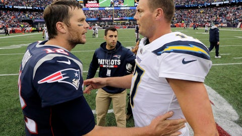 <p>               FILE - In this Oct. 29, 2017, file photo, New England Patriots quarterback Tom Brady (12) and Los Angeles Chargers quarterback Philip Rivers (17) speak at midfield after an NFL football game, in Foxborough, Mass. The Chargers and Patriots meet in a divisional playoff game on Sunday, Jan. 13, 2019. (AP Photo/Steven Senne, File)             </p>